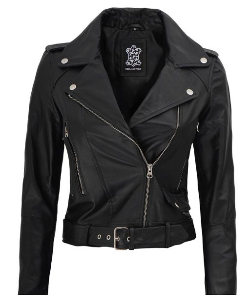 womens black cropped leather jacket