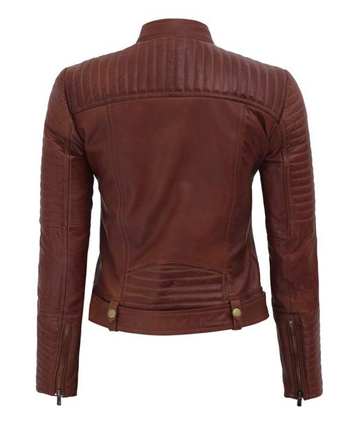womesn motorcycle leather jacket brown