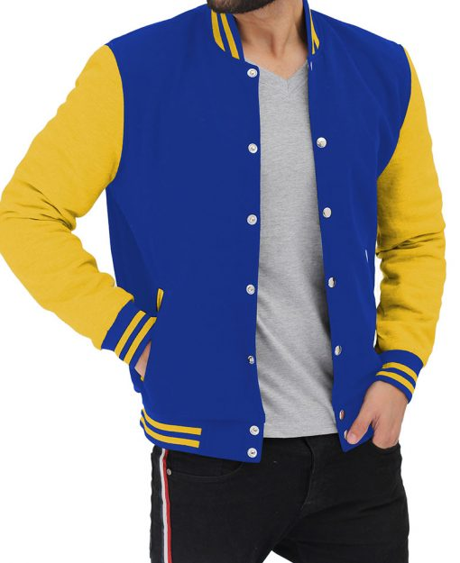 yellow and blue varsity jacket