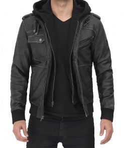 Hooded grey leather bomber jacket men
