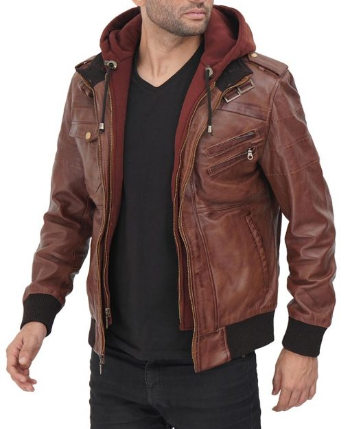 Mens Removable hooded leather jacket real leather