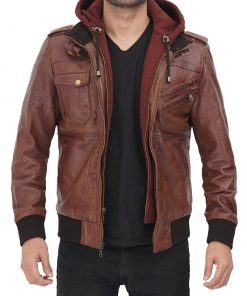 Mens real leather brown hooded jacket