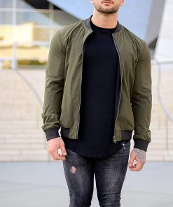 Olive Green Mens Bomber Jacket