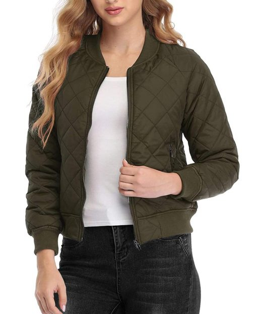 Quilted green bomber jacket