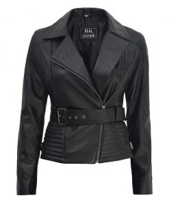 Real Leather Black Biker Jacket Women