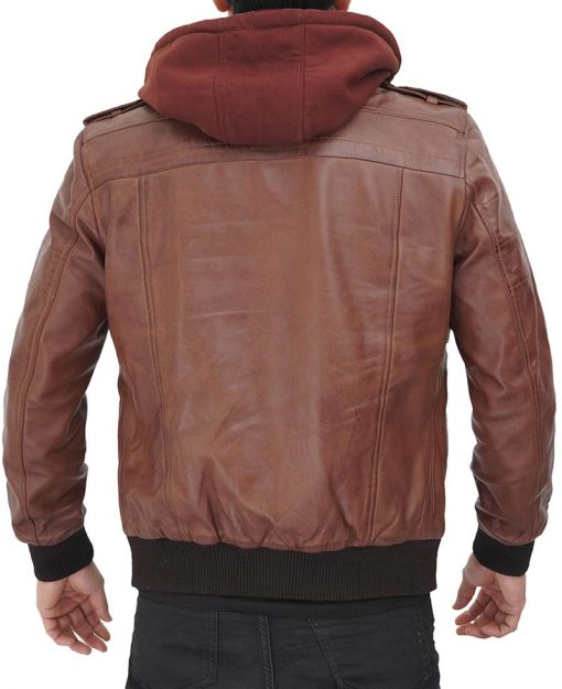 Removable hood leather jacket brown