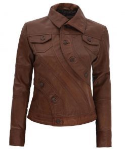 Women Slim Brown Leather Jacket