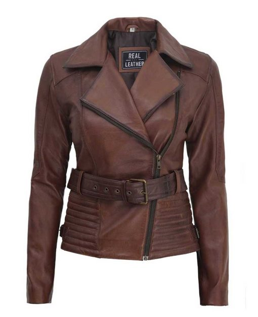 Womens Belted Brown Leather Jacket