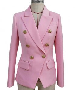 Womens Double Breasted Blazer Pink