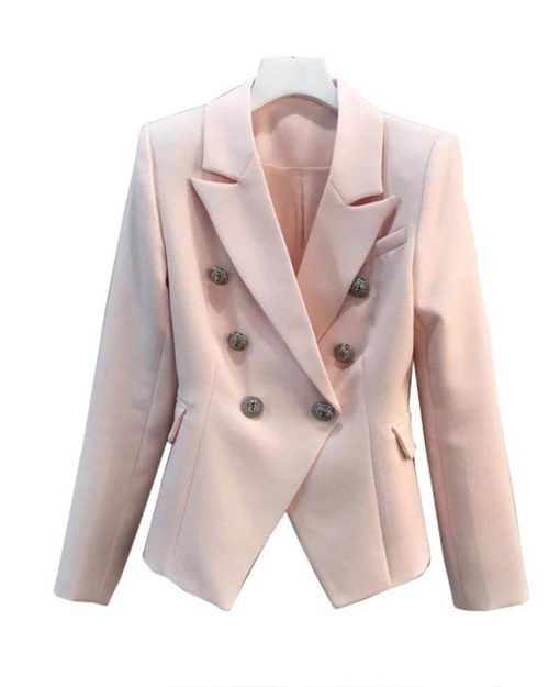 Womens Double breasted pink blazer