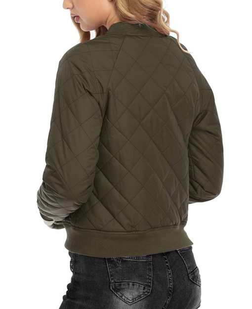 Womens Green quilted bomber jacket