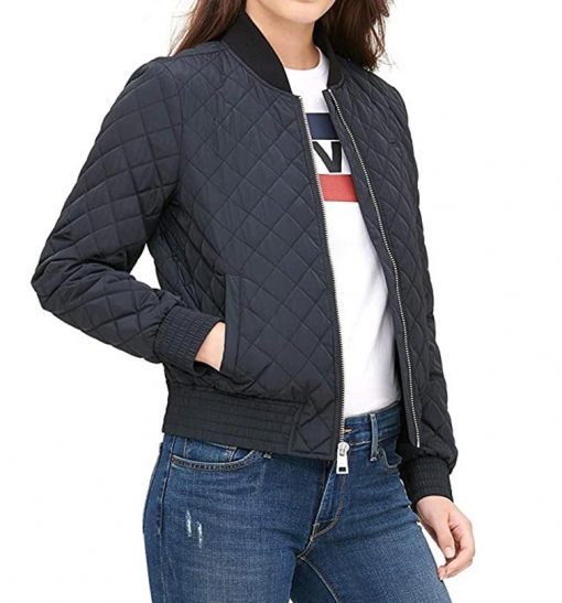 Womens Quilted Blue Bomber Jacket