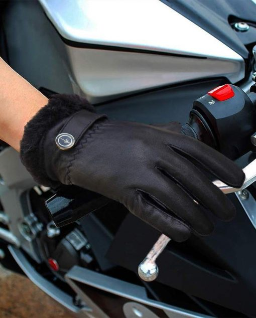 Black Button Leather Gloves