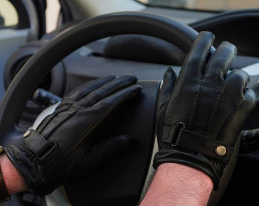 Black Driving Leather Gloves