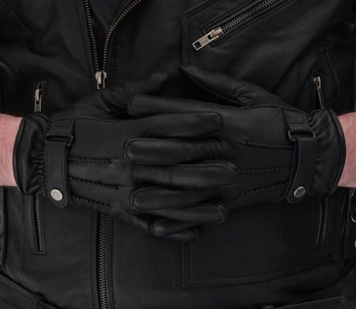 Black Riding Leather Gloves