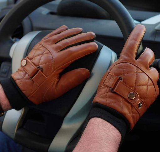 Brown Driving Leather Gloves