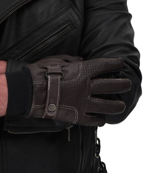 Brown Leather Perforated Gloves