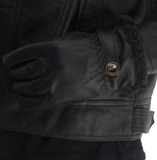 Button Fur Leather Gloves