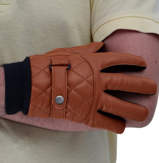Quilted Leather Gloves Men