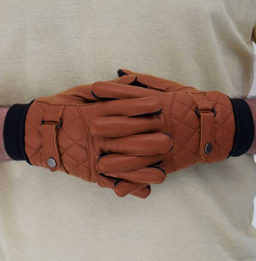 Tan Leather Ribbed Gloves