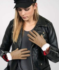 Womens Tan Leather Gloves