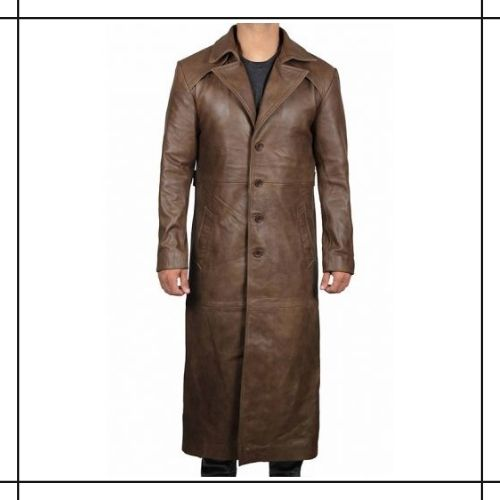 Brown Leather Duster Coat
