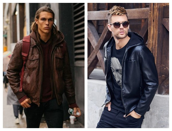 Hooded leather jacket mens