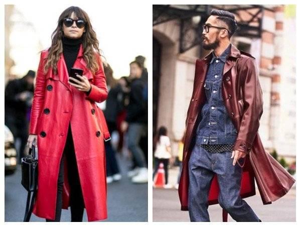 Maroon Burgundy leather coat men women