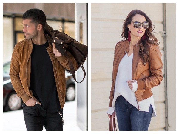 brown bomber leather jacket outfits