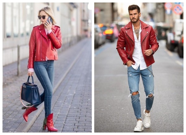 red motorcycle leather jackets fashion