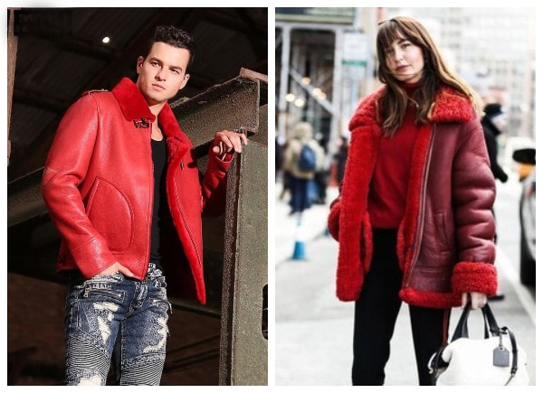 red shearling leather coat fashion winter
