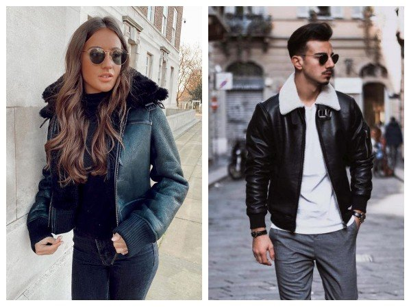 shearling bomber leather jacket outfits