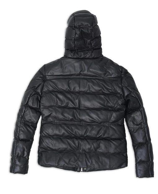 Black Hooded Puffer Leather Jacket