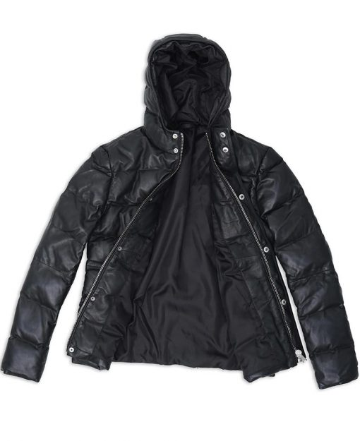 Black Puffer Jacket with hood for men