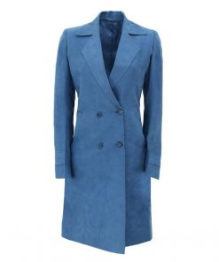 Blue Wool Coat Double Breasted