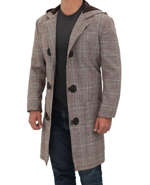 Brown checkered wool coat for men