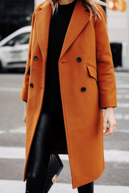 Double breasted women brown wool coat