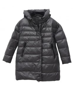 Gray Puffer Jacket With Hood