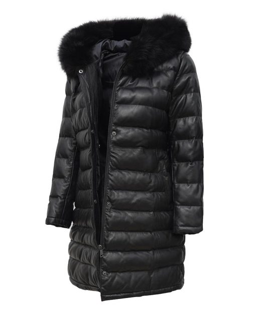 Leather Coat With Fur Hood