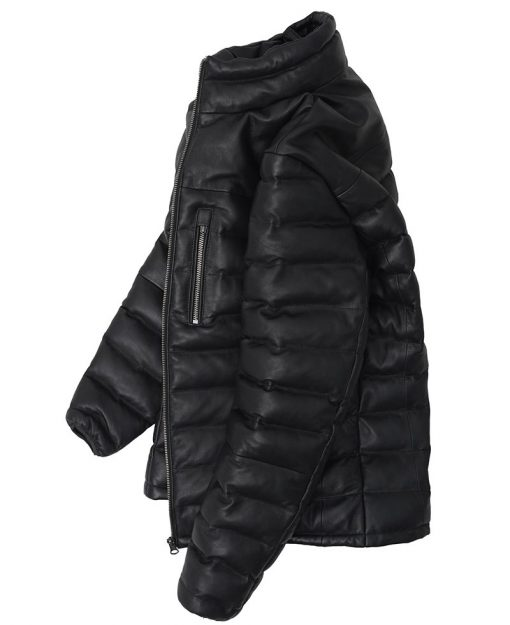 Leather Puffer Jacket Mens