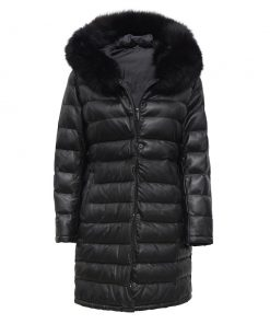 Long Leather Coat With Fur Hood