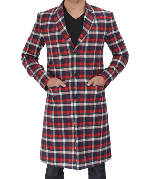 Mens Checkered Wool Coat Red and Blue