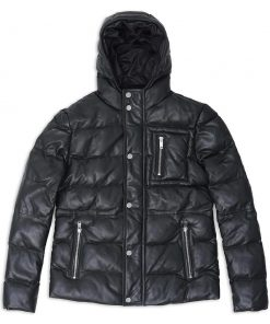 Men's Hooded Puffer Leather Jacket