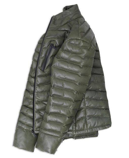 Mens Real leather Green Puffer Jacket