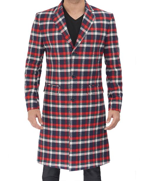 Plaid wool coat men red and blue