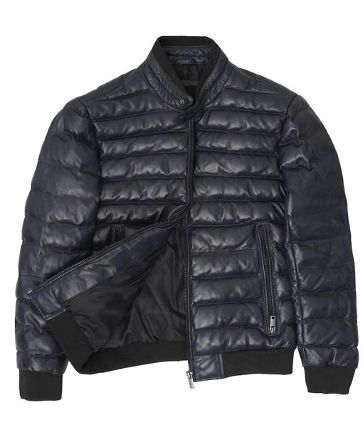 Quilted Gray Leather Puffer Bomber Jacket