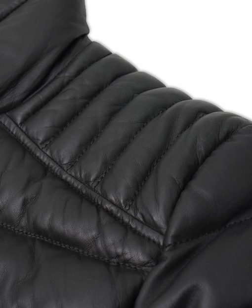 Quilted Puffer Leather Jacket