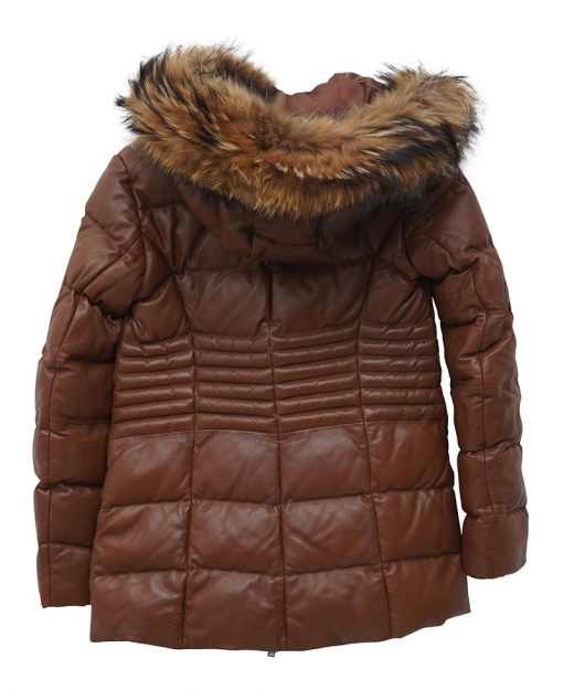 Real Leather Brown Puffer Jacket With Fur Hood