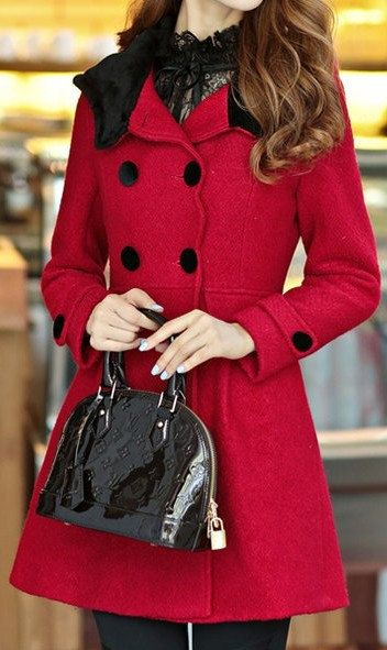 Red Double breasted wool Coat womens