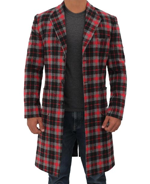 Red and Black Plaid Overcoat men
